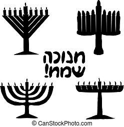 vector, inscripción, feriado, silueta, hanukkah, judío, set...