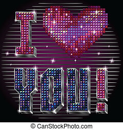 I love you - Vector inscription I love you with shiny red...
