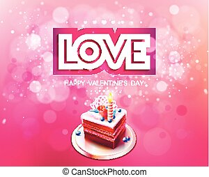 Vector inscription love cut on a pink background with cake