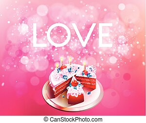 Vector inscription love on a pink background with big cake