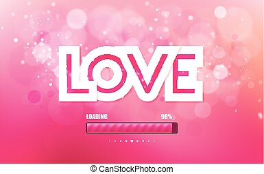 Vector inscription love on a pink background with bokeh and...
