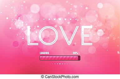 Vector inscription love on a pink background