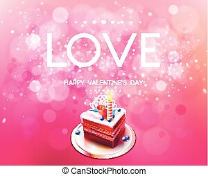 Vector inscription love on a pink background with cake
