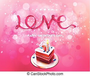 Vector inscription love pink ribbon on a background with cake