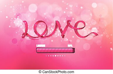 Vector inscription love ribbon on a pink background