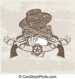 insignia - Vector insignia and banner with two guns and hat....