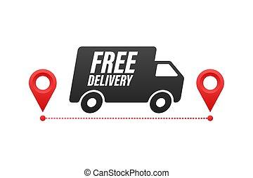 vector, insignia, illustrtaion., libre, delivery., acción, truck.
