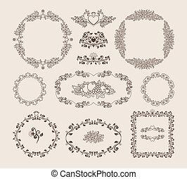 vector, insignias, marcos, conjunto, ornamental