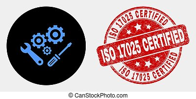 Vector Instrumental Tools Icon and Scratched ISO 17025 Certified Watermark