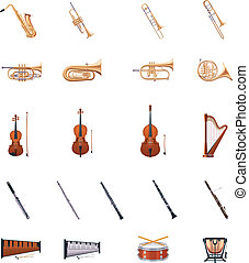 Set of detailed classic music instruments