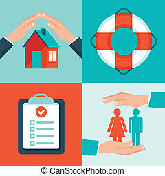 Vector insurance concepts in flat style - icons and ...