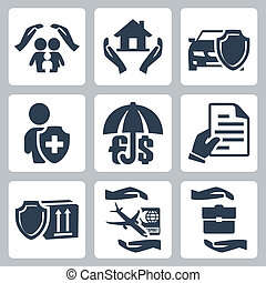 Vector insurance icons set: family insurance, home insurance,auto insurance, life insurance, deposit insurance, insurance policy, insurance of goods, travel insurance, business risk insurance