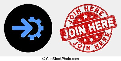 Rounded integration gear pictogram and Join Here seal stamp. Red rounded scratched stamp with Join Here text. Blue integration gear icon on black circle.