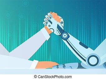 vector, intelligentie, concept., worstelen, kunstmatig, robot., vs, strijd, menselijke arm, man