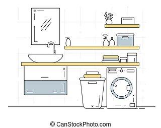vector, interior., lineal, bosquejo, parte, bathroom.