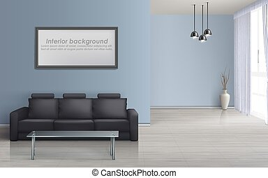 Vector interior mockup of living room with sofa