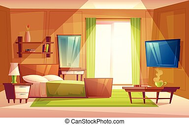 Vector interior of bedroom, living room furniture