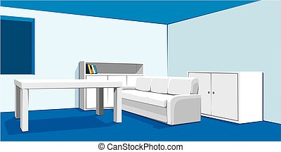 vector interior of living room