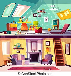 Vector interior of playroom and living room
