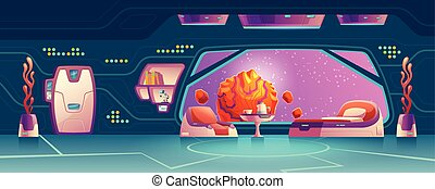 Vector cartoon interior of futuristic room with big window on space station, shuttle. Bright furniture, door and shelf. Control panel of alien spacecraft. Cosmic house inside, astronaut concept.