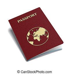 vector, internacional, pasaporte, con, globe.