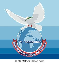 Vector International day of Peace. White dove