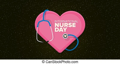 vector international nurse day greeting card or horizontal banner with stethoscope isolated on srarry black background. vector nurses day icon or sign design template