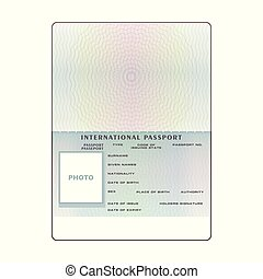 Blank open passport template isolated vector illustration