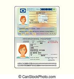 Vector international open passport with Dominicana visa