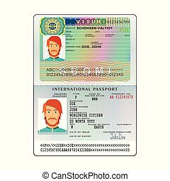 Vector international open passport with Finland visa