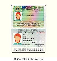Vector international open passport with Norway visa