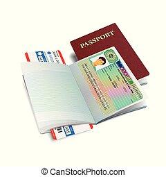 Vector international passport with Austria visa