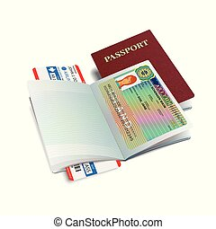 Vector international passport with Iceland visa sticker