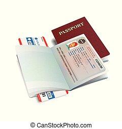 Vector international passport with Myanmar visa