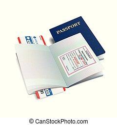 Vector international passport with Nepal visa