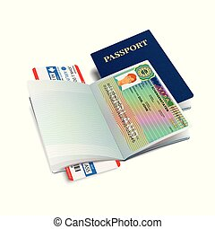 Vector international passport with Netherlands visa