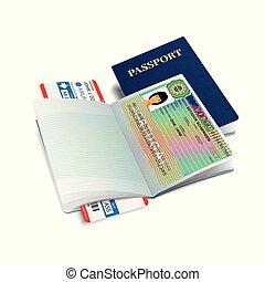 Vector international passport with Portugal visa sticker
