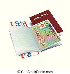 Vector international passport with Sweden visa