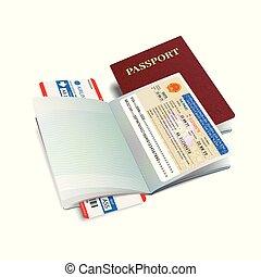 Vector international passport with Vietnam visa