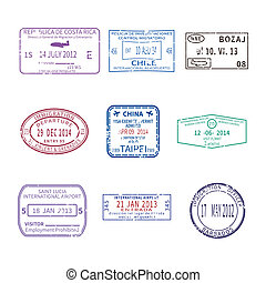 Vector international travel visa stamps for passport set -...