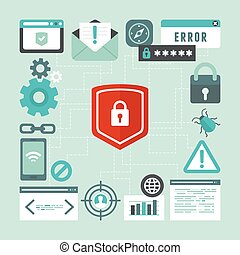 Vector internet and information security concept in flat ...