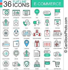 Vector internet E-commerce modern color flat line outline icons for apps and web design.