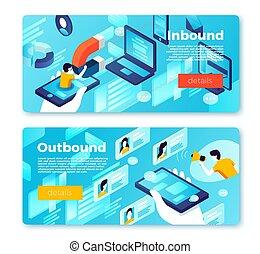 Vector internet inbound outbound marketing banners - Vector ...