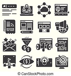 Vector internet marketing icon set