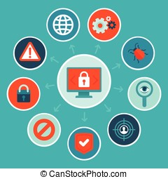 Vector internet security concept in flat style