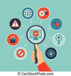 Vector internet security concept in flat style -...