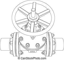 vector, interpretación, valve., industrial, 3d