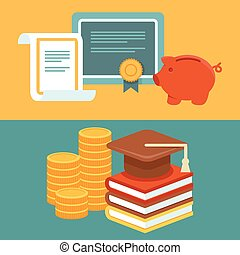 Vector invest in education concept in flat style - stack of...