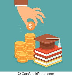 Vector invest in education concept in flat style - stack of ...