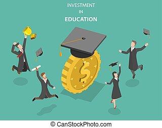 vector., investissement, plat, isométrique, education